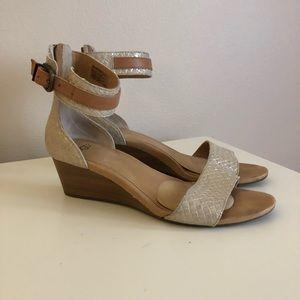 UGG Silver Wedge Wood Heel Sandals.